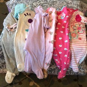 Bundle of Baby Girl Footed Pj's